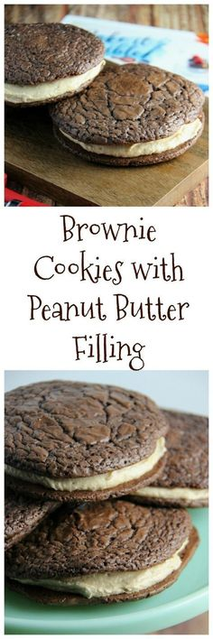Brownie Cookie with Peanut Butter Filling Recipe - simply the best filled cookies you'll ever make. Soft, chewy and the light peanut butter frosting. Mini Desserts, Cookie Desserts, Easy Desserts, Delicious Desserts, Yummy Food, Birthday Desserts, Peanut Butter Filling, Peanut Butter Desserts, Cookie Butter