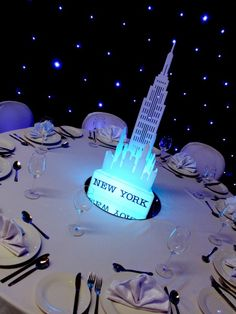 Illuminated New York Table Centre | Grease Theme | Event Prop Hire