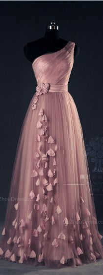 Prom Dresses For Teens, Tulle Evening Dress,Pink Evening Dresses,One Shoulder Prom A Line Flower Appliques Fitted Corset Elegant Prom Gowns Dresses Modest Elegant Dresses, Pretty Dresses, Formal Dresses, Elegant Clothing, Sexy Dresses, Prom Dresses 2015, Prom Gowns, Dress Prom, Bridesmaid Dress