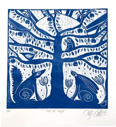 linocut/Tree of Life/blue/original art/printmaking/fox/hare/tree/squirrel/bird/apples/home interior/printmaking/original art/sunrise/forest Buy Prints, Prints For Sale, Sgraffito, Tampons, Art Plastique, Illustrations, Squirrel, Printmaking, Folk Art