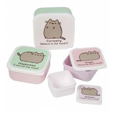 Set Of Four Pusheen Snack Boxes ($11) ❤ liked on Polyvore featuring home, kitchen & dining and food storage containers