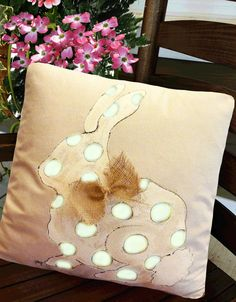 Polka-Dotted, Bunny with Burlap Bow, Easter, Infant, Baby Nursery, Hand-painted, Pillow Cover Add this cute polka-dotted bunny inside your home