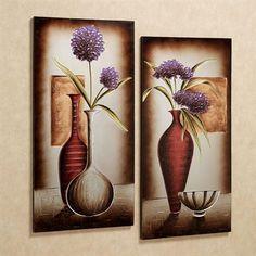 "Floral Tranquility Canvas Art Set Purple Set of Two - each measures 24"" x 47"""