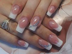 French nails images to help you choose nail designs - wedding nails french nails pattern - French Nails, French Acrylic Nails, French Manicure Nails, Gel Nails, Nail Polish, French Manicure With Glitter, French Polish, French Manicure Designs, Clear Nails