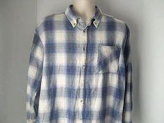 Mountain Ridge Mens XL Blue White Flannel Shirt 100% Cotton #MountainRidge #ButtonFront
