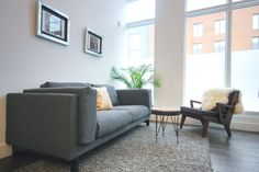 Rent meeting space at 4288 rue Notre-Dame Ouest, Ground Floor daily or hourly with Breather. Book office space in Saint-Henri. Sofa, Couch, Ground Floor, Montreal, Notre Dame, Flooring, Inspiration, Interior Design, Furniture