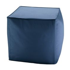 Navy Blue Indoor Outdoor Square Pouf Playroom Seating, Patio Seating, Outdoor Pouf, Indoor Outdoor, Outdoor Decor, Scotchgard, Square Pouf, Outdoor Living Areas, Simple Colors