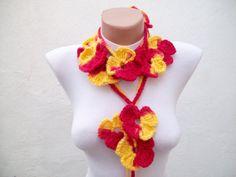 Hand crochet Lariat Scarf Red Yellow Flower Lariat by scarfnurlu
