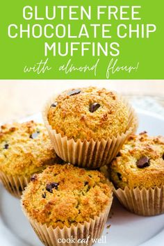 Love chocolate? Try these gluten-free chocolate chip muffins made with almond flour for a healthy treat. There's nothing like warm chocolate chip muffins. They are quick and easy to make, and they're dairy-free, grain-free, and paleo. via @cookeatpaleo Healthy Muffin Recipes, Healthy Muffins, Snacks Recipes, Healthy Breakfasts, Healthy Dessert Recipes, Healthy Snacks, Egg Free Recipes, Best Gluten Free Recipes, Gluten Free Desserts