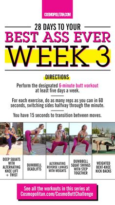 #COSMOBUTTCHALLENGE WEEK 3: Week 3 of the Cosmo Butt Challenge is here! It's time to switch up your routine and work in these new moves — deep squats with alternating knee lift and twist, dumbbell deadlifts, alternating reverse lunges with weights, dumbbell squat swings with step together, and weighted bent-knee kick backs. Click through for the simple workout that you can do at home, or at the gym, and the complete #CosmoButtChallenge info and workout calendar.