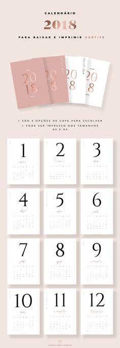 Calendário 2018 mês a mês do Oh My Closet! em rosa blush e cobre.