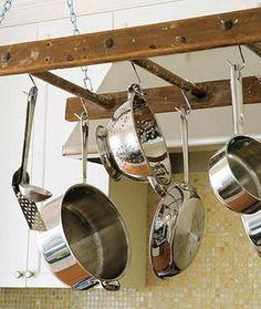 kitchen,hang pots/pans on antique ladder