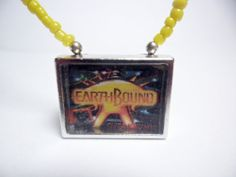 Earthbound video game necklace with yellow by ReturnersHideout, $12.50