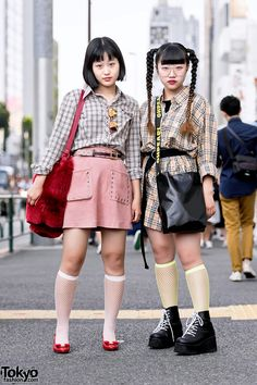 Harajuku Girls in Burberry Plaid w/ Oh Pearl, Faith Tokyo, X-Girl & Jouetie Asian Street Style, Tokyo Street Style, Japanese Street Fashion, Tokyo Fashion, Harajuku Fashion, Love Fashion, Girl Fashion, Fashion Outfits, Street Styles