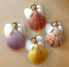 Pecten Shell Angel Ornament These beautiful angels are simple, but have a charm . - Craft ideas children - Pecten Shell Angel Ornament These beautiful angels are simple but have a charm … – - Seashell Christmas Ornaments, Cool Christmas Trees, Christmas Tree Crafts, Christmas Ideas, Xmas, Cheap Christmas, Homemade Christmas, Christmas Decorations, Shell Decorations