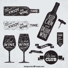 Emblemas de vinho em estilo negro Vetor grátis