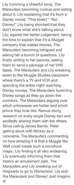 Marauders- One problem Remus is a halfblood so he probably knows about Disney.