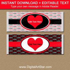 Valentines Day Chocolate Bar Wrappers, Printable Candy Bar Wrappers ...