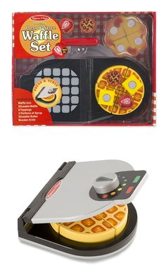 Wooden Press & Serve Waffle Set: Little chefs in training will love fixing breakfast with this wooden waffle set! Just close the waffle iron and turn the dial, then top the waffle with butter, syrup, chocolate chips, and strawberries. This engaging set promotes hand-eye coordination, fine motor skills, creative expression, and imaginative play.
