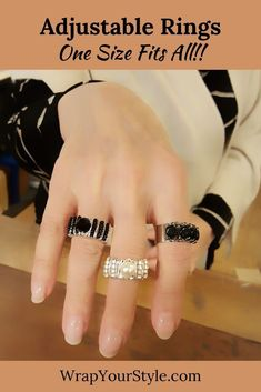Tired of your rings not fitting? Do your fingers change sizes with the weather or with eating salty foods? Don't worry about your rings not fitting with these adjustable rings! They make great gifts too. Don't have to worry about sizes. #wrapyourstyle #rings #adjustablerings #stainlesssteeljewelry #stainlesssteelrings