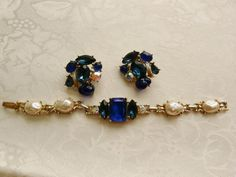 Vintage Blue Stones White Pearl Cabochons by PhylmasFabulousFinds - $26.00