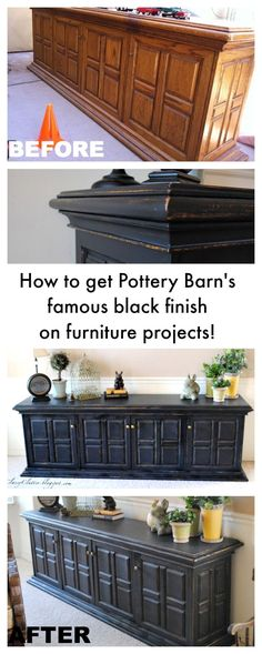 Pottery Barn Black Furniture Finish Tutorial – www.classyclutter… Pottery Barn Black Furniture Finish Tutorial – www. Furniture Projects, Home Projects, Diy Furniture, Black Furniture, Bedroom Furniture, Furniture Stores, Furniture Removal, Furniture Refinishing, Furniture Outlet