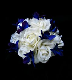 Real Touch Bouquet Bridal Flower Bridesmaid Bouquet Grooms Boutonniere Blue Orchid White Rose Ocean Destination Beach Wedding Flowers