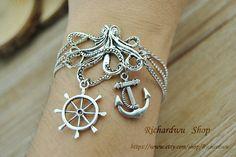 Silver Octopus & Anchor charm braceletSilver rudder by Richardwu, $7.99