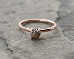 bespoke 1 carat cacao color diamond ring with hammered 14k rose or white gold by The Spiral River and Neva Murtha