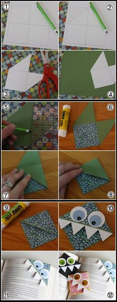 marcapaginas ------ Monstrously good corner bookmarks you can craft yourself Diy Bookmarks, Corner Bookmarks, Cute Crafts, Diy And Crafts, Arts And Crafts, Diy Paper, Paper Art, Paper Crafts, Diy For Kids