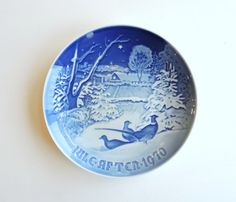 Vintage B&G Jule Aften 1970 Plate, Pheasants in the Snow, Bing Grondahl Danish Blue Collectible Christmas Plate Denmark, Jule After by ninthstreetvintage on Etsy