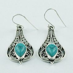 HIGH QUALITY TURQUOISE STONE FASHION LOOK 925 STERLING SILVER EARRINGS #SilvexImagesIndiaPvtLtd #DropDangle
