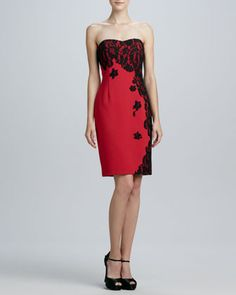 Strapless Sweetheart Dress with Lace Overlay by Aidan Mattox - Salacious lace graces this stop-sign red Aidan Mattox dress. Enrich this look with matte red lips and glossy ankle-wrap pumps.