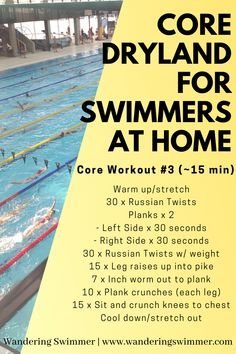 Swimmers, keep working your core! This 15 minute workout is great when you need to add some ab work to your dryland. Combine with other workouts or repeat for a better burn! Dry Land Swim Workouts, Workouts For Swimmers, Fun Workouts, Bike Workouts, Stretches For Swimmers, Swimming Memes, Swimming Tips, Best Swimming Workouts, Swimming Fitness