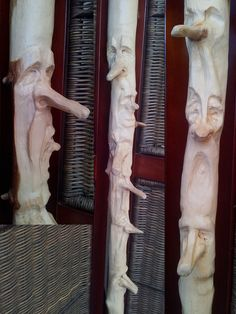 Unique wood spirit stick -- Leave some stems intact to become noses