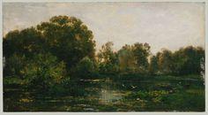 Charles François Daubigny, Barbizon, Landscape with Storks, oil on canvas, 9 1/2 x 17 5/8