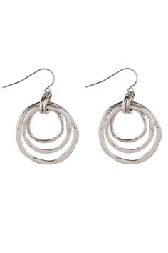 """Hammered metal multi rings french wire earrings. These make a great everyday basic earring! A great casual look available in both mixed metals toned earrings and silver toned earrings. Mixed ring drop is approximately 1 1/2"""" diameter.   Metal Rings Earrings by Wilkins & Olander. Accessories - Jewelry - Earrings Wisconsin"""