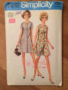 60's Romper Pantdress Skort Vintage Simplicity 8218 by LagunaLane (Craft Supplies & Tools, Patterns & Tutorials, Sewing & Needlecraft, Sewing, sewing, 1960s 60s sixties, pattern patter team, Simplicity 8218, romper pattern, pantdress, misses size 14 half, bust 37, one piece romper, button front romper, princess seams, split skirt, culotte)