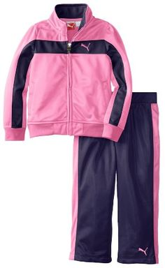 PUMA  Baby Girls Print Colorblock Stripe Tricot Set Carmine Rose 12 Months * Click on the image for additional details.