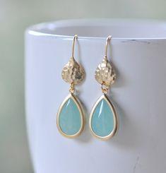 Simple Aqua Teardrop Earrings in Gold. Gold Jewel Drop Earrings. Modern Jewelry.  Jewel Earrings. Bridesmaid Jewelry.