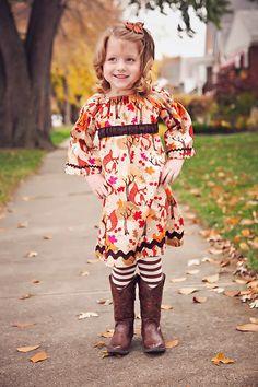 Fall Dress for Girl - Back to School Dress - Girls Fox Peasant Dress - Rick Rack Dress - Leaves Dress - Autumn Dress - Thanksgiving Dress