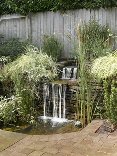 A miniature pond and waterfall with distinctive stone