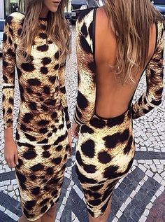 Round Collar Long Sleeve Leopard Print Backless Dress – Everyone's corner