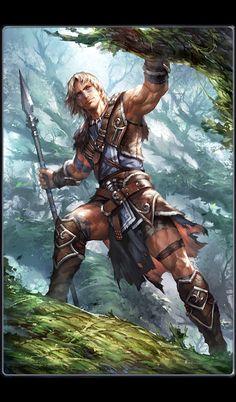 Human Feral Hunter - Pathfinder PFRPG DND D&D d20 fantasy