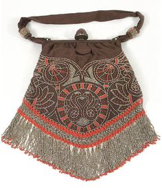 Liberty & Co. beaded silk bag, circa 1910, from the Vintage Textile archives. Haven't seen one like this before, pretty!
