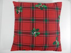 17 X 17 Holiday Throw Pillow Cover Holly Red Green White by 2lewa