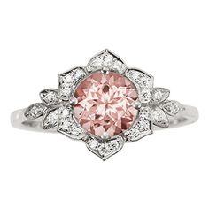 <3 Morganite Engagement Ring - Round Brilliant Morganite - F...