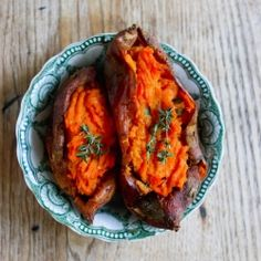 Sweet, caramelized roasted garlic puree stuffed into a sweet potato, baked twice!