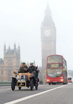 The London to Brighton Veteran Car Run crosses Westminster Bridge