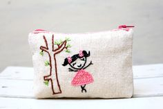 dancing girl coin purse -- hand embroidery on linen